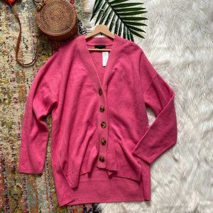 NEW Ann Taylor Pink Button Down Boyfriend Cardigan Sweater XL Extra Large